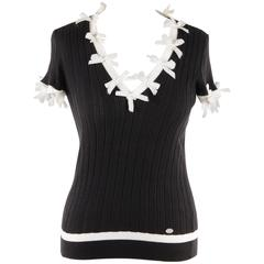 CHANEL Black Cotton KNIT TOP Short Sleeve with BOWS Detailing SIZE 38