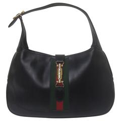 Gucci Italy Iconic Ebony Leather Jackie O Pistin Handbag c 1970s