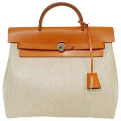 1998 Hermes Tan Toile and Leather Herbag PM - Two for One!