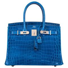 Hermes Birkin Bag 30cm Blue Izmir Nilo Crocodile Palladium Hardware! JaneFinds