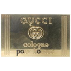 Gucci Italy Brass Metal Display Sign c 1980s