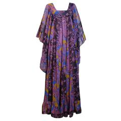 1970s David Silverman Bohemian Angel Wing Maxi Dress