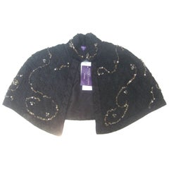 Ralph Lauren Collection Embroidered Black Silk Sequined Capelet Shrug