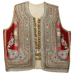 19th c. Antique Ottoman Gold Thread Embroidered Vest