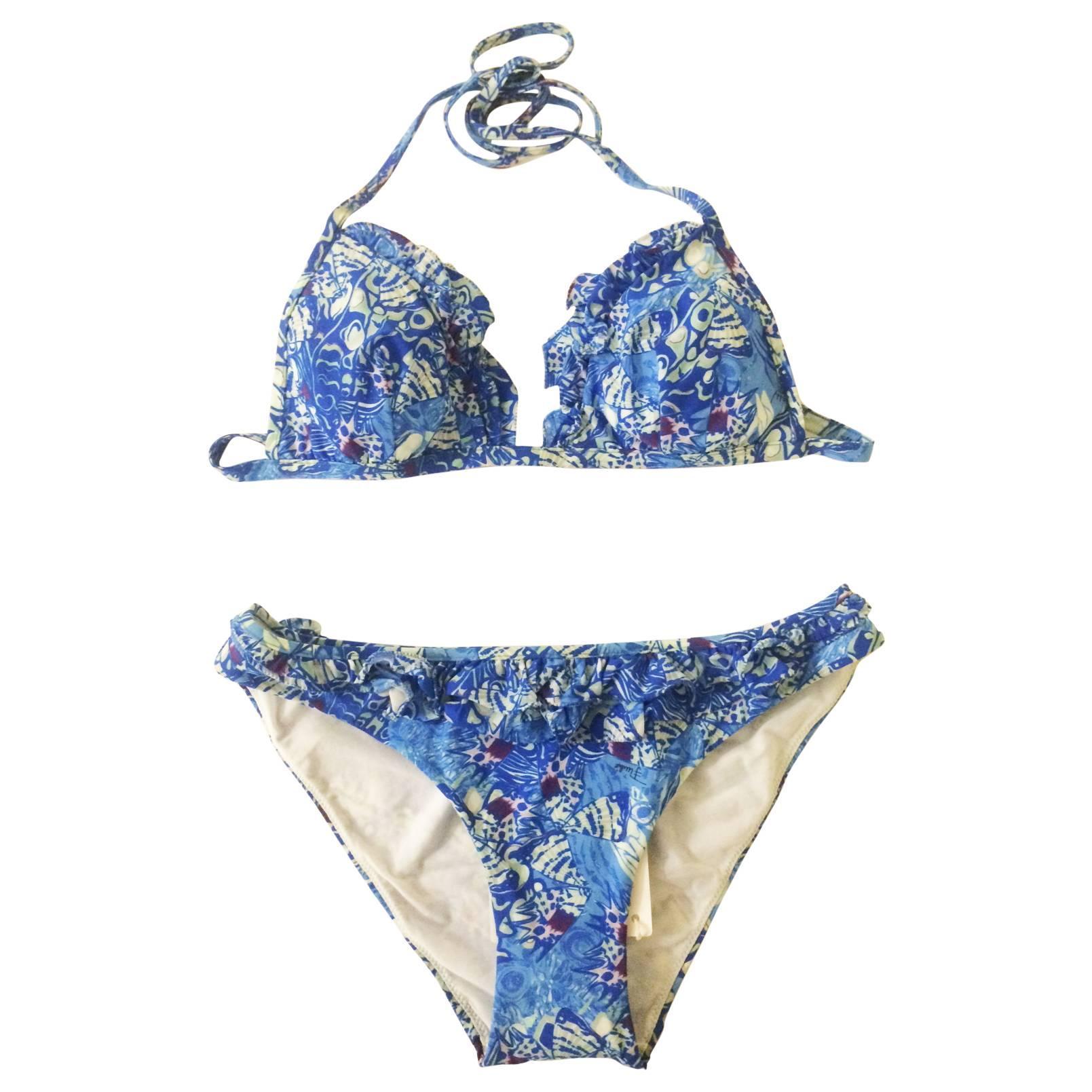 Emilio Pucci Blue Butterfly Wing Print Bikini Swim Suit with Ruffle Trim