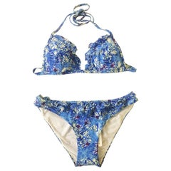 Emilio Pucci Blue Butterfly Wing Print Bikini Swim Suit with Ruffle Trim
