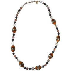 Vendome Amber Glass Bead Necklace