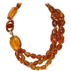 Chanel Triple-Strand Amber-like Necklace