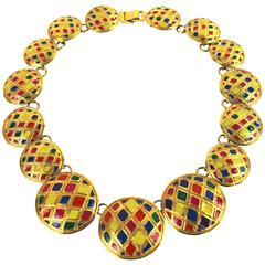 Gianni Versace Harlequin Disc Enamelled Necklace