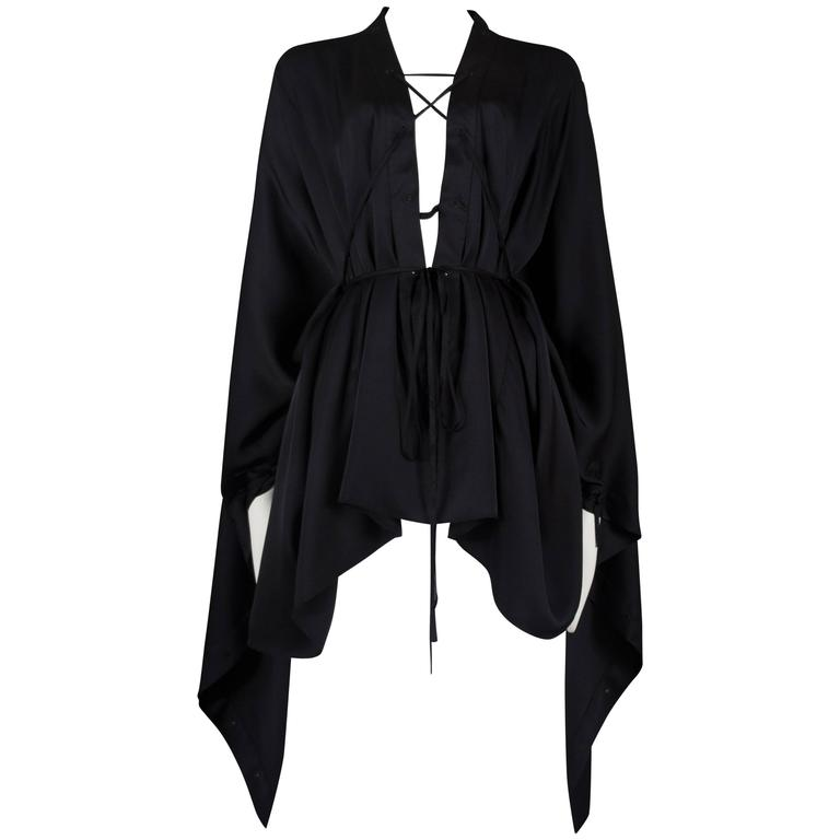 Gucci by Tom Ford black silk evening lace up poncho blouse, circa 2002 For Sale