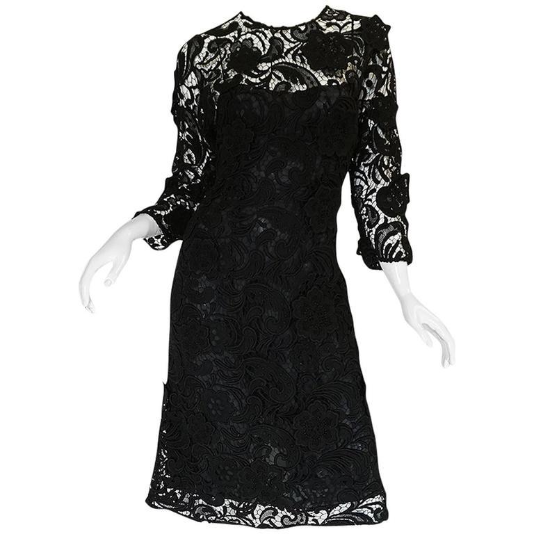 F/W 2008 Prada Runway Wait Listed Black Lace Dress For Sale