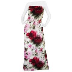 1950s Strapless Floral Silk Chiffon Helena Barbieri Dress