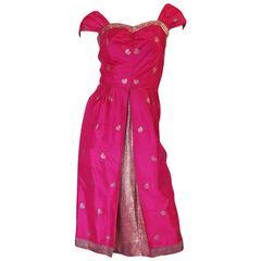 1950s Fine Tissue Silk Bright Pink Dress & Coat Set