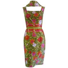 1960s Jeannette Alexander Silk Dress and Reversible Shawl