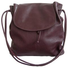 1970s Halston Leather Hobo Slouch Shoulder Bag