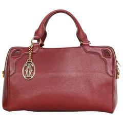 Cartier Bordeaux Leather Boston Bag w/ Logo Keychain GHW