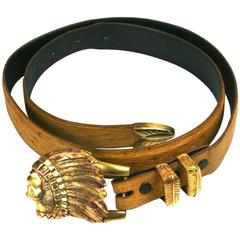 Sterling Vermeil Indian Chief Belt
