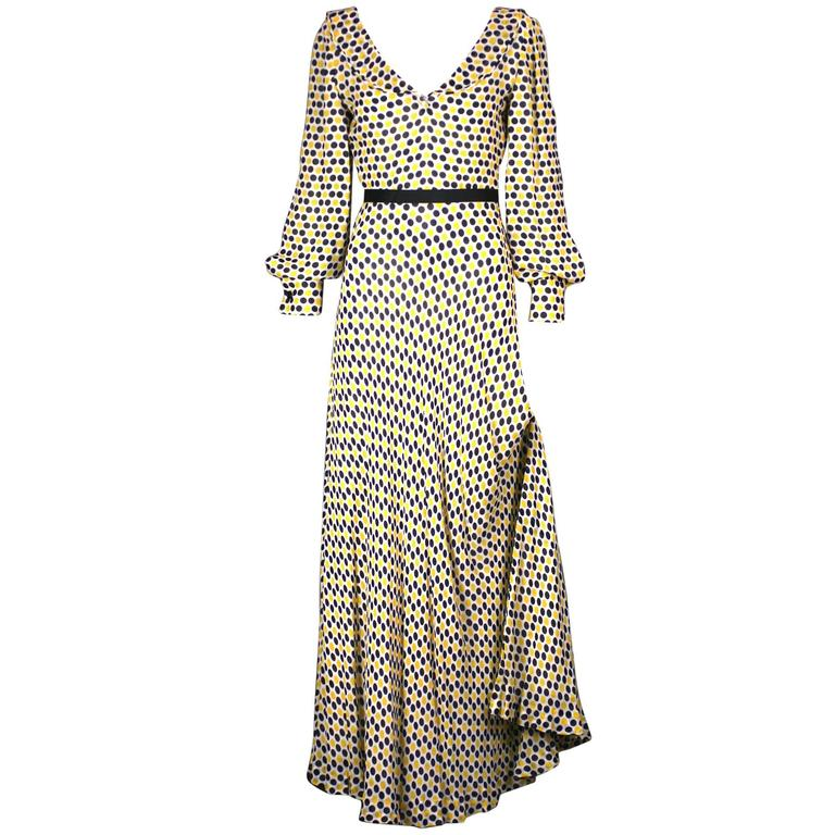 Galanos Yellow and Black Polka Dot Crepe Gown For Sale