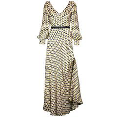 Galanos Yellow and Black Polka Dot Crepe Gown