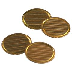Elegant Art Deco Striped Gold Cufflinks