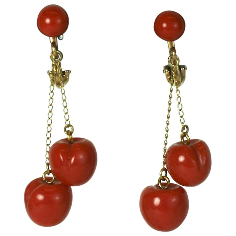 """Charming Coral """"Cherry"""" Earrings For Sale"""