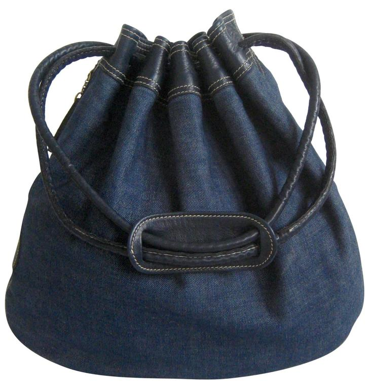 1970s anne klein denim and leather bucket bag at 1stdibs