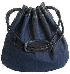 1970s Anne Klein Denim and Leather Bucket Bag