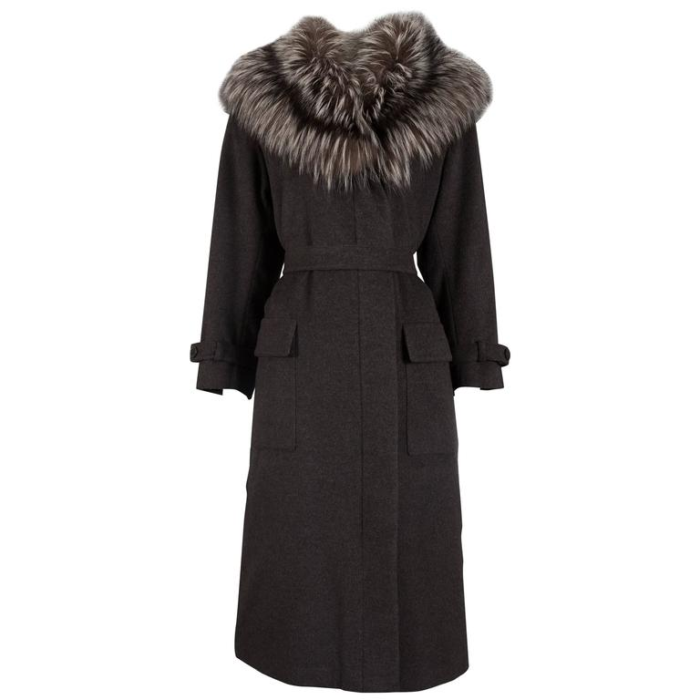 Yves Saint Laurent cashmere fall coat with fox fur collar, circa 1990