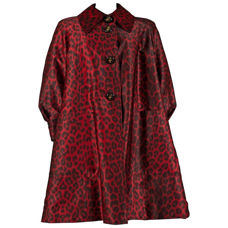 Jaques Fath red leopard print evening silk swing coat, circa 1992