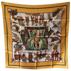 Hermes Vintage Le Temps des Marionnettes Silk Scarf in Golden Yellow