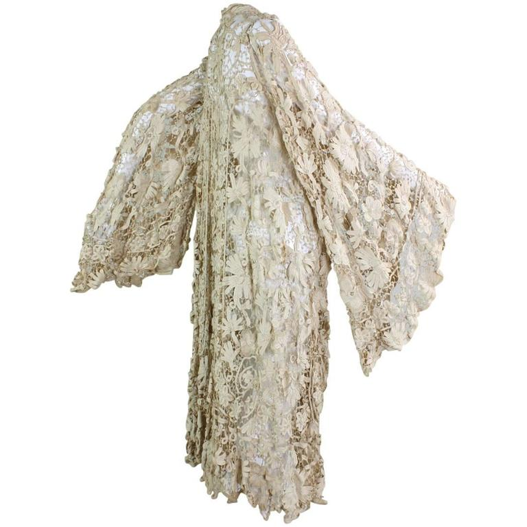 Edwardian Battenburg Lace Coat with Bell Sleeves