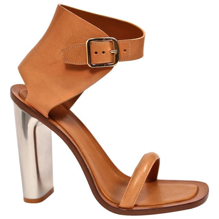 unworn CELINE tan leather bam bam sandals with metal heels 40.5