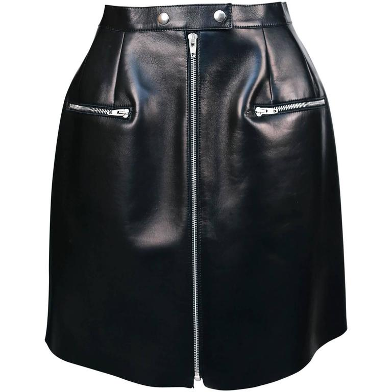 unworn CELINE black leather skirt with sliver zipper 1