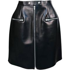 unworn CELINE black leather skirt with sliver zipper