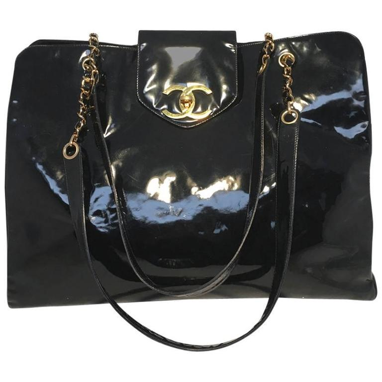 Chanel Black Patent Leather Model Overnighter Tote For Sale