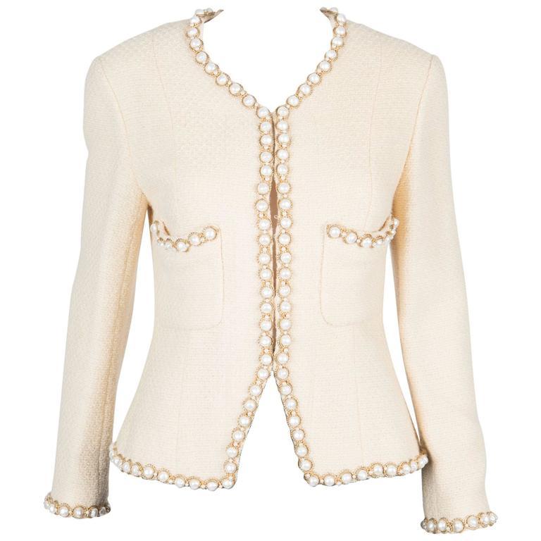 Rare Chanel Ivory Tweed Jacket 1
