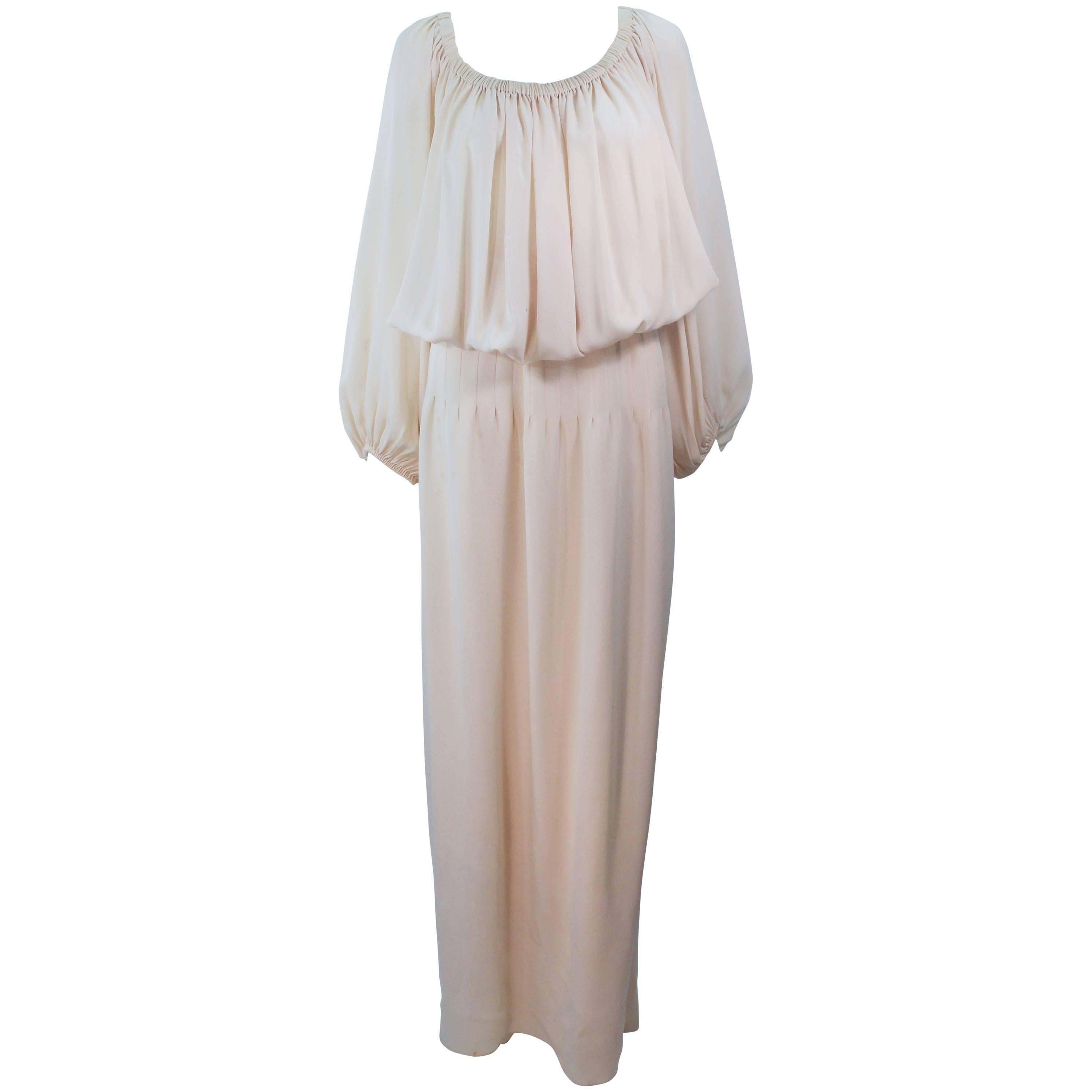 CHRISTIAN DIOR COUTURE Provenance Betsy Bloomingdale Nude Silk Chiffon Gown