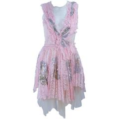 MORALES Sheer Pink Applique Cocktail Dress with Sequins Size 2