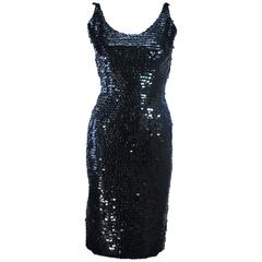 BULLOCKS Black Plastic Sequin Cocktail Dress Size 6
