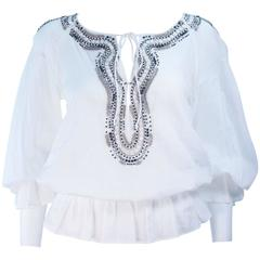ROBERTO CAVALLI White Blouse with Beaded Applique Size 40