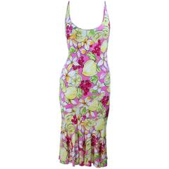 BLUMARINE Light Weight Stretch Cherry & Lemon Print Dress Size 40