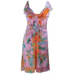 VERSACE Stretch Ruffled Silk Dress with Floral Print Size 42