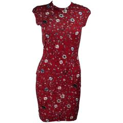 ALEXANDER MCQUEEN Floral Print Stretch Wool Dress Size S