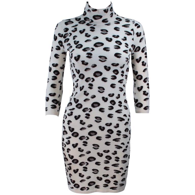 431c07c940 BLUMARINE Leopard Print Stretch Turtleneck Dress Size Small at 1stdibs