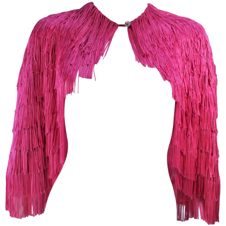ELIZABETH GILLET NYC Pink Fringe Cape with Faceted Iridescent Button OS 1