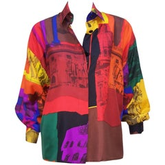 C.1980 Colorful Genny Pop Art Style Silk Blouse