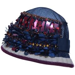Prada Embellished Cloche Hat  2005   Mint