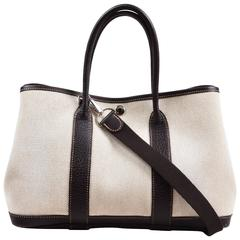 "Hermes Dark Brown & White Toile & Buffalo Leather TPM ""Garden Party"" Tote"