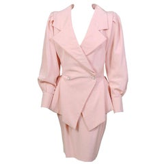Emanuel Ungaro Numbered Haute Couture Pink Silk Suit