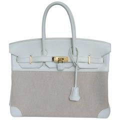 Hermes Birkin 35 Handbag Bi-Matiere White Leather Beige Canvas Gold Hdw 2010